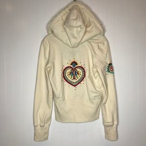 Twisted Heart Embroidered Hoodie, Sz M